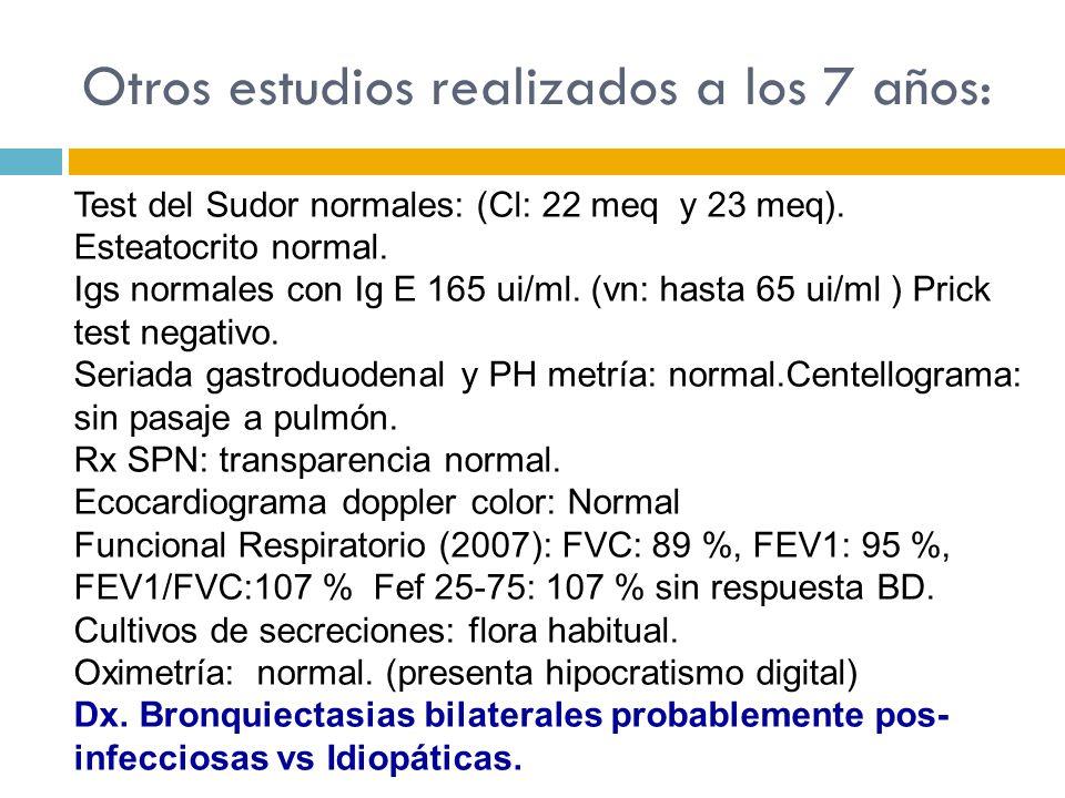 Test del Sudor normales: (Cl: 22 meq y 23 meq). Esteatocrito normal. Igs normales con Ig E 165 ui/ml. (vn: hasta 65 ui/ml ) Prick test negativo. Seria