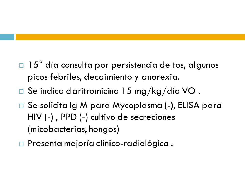 15° día consulta por persistencia de tos, algunos picos febriles, decaimiento y anorexia. Se indica claritromicina 15 mg/kg/día VO. Se solicita Ig M p