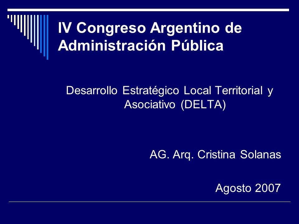 IV Congreso Argentino de Administración Pública Desarrollo Estratégico Local Territorial y Asociativo (DELTA) AG.