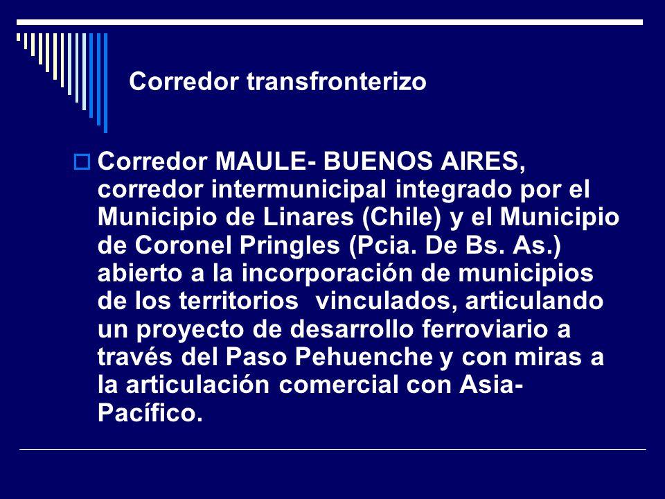 Corredor transfronterizo Corredor MAULE- BUENOS AIRES, corredor intermunicipal integrado por el Municipio de Linares (Chile) y el Municipio de Coronel Pringles (Pcia.