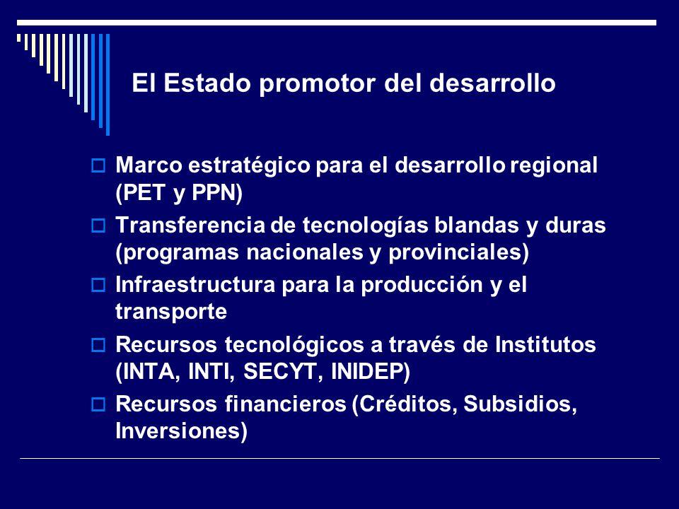 El Estado promotor del desarrollo Marco estratégico para el desarrollo regional (PET y PPN) Transferencia de tecnologías blandas y duras (programas nacionales y provinciales) Infraestructura para la producción y el transporte Recursos tecnológicos a través de Institutos (INTA, INTI, SECYT, INIDEP) Recursos financieros (Créditos, Subsidios, Inversiones)