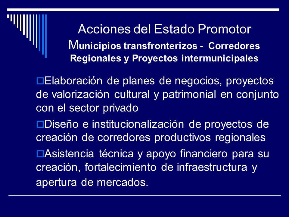 Elaboración de planes de negocios, proyectos de valorización cultural y patrimonial en conjunto con el sector privado Diseño e institucionalización de proyectos de creación de corredores productivos regionales Asistencia técnica y apoyo financiero para su creación, fortalecimiento de infraestructura y apertura de mercados.
