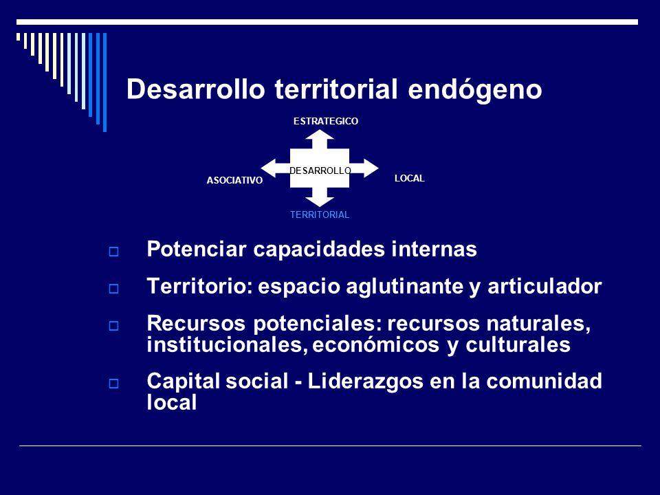 Desarrollo territorial endógeno Potenciar capacidades internas Territorio: espacio aglutinante y articulador Recursos potenciales: recursos naturales, institucionales, económicos y culturales Capital social - Liderazgos en la comunidad local DESARROLLO ESTRATEGICO LOCAL TERRITORIAL ASOCIATIVO