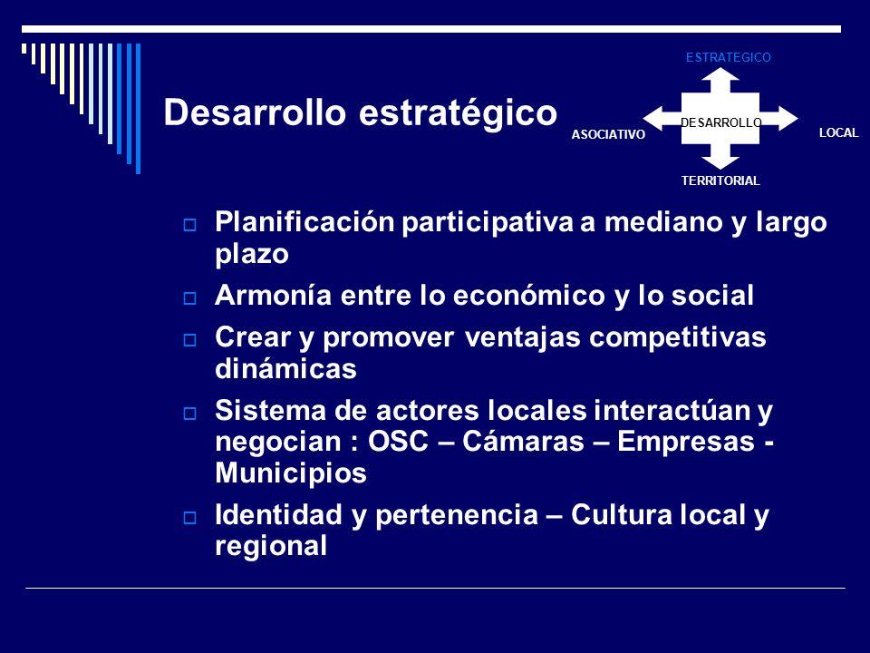 Desarrollo estratégico Planificación participativa a mediano y largo plazo Armonía entre lo económico y lo social Crear y promover ventajas competitivas dinámicas Sistema de actores locales interactúan y negocian : OSC – Cámaras – Empresas - Municipios Identidad y pertenencia – Cultura local y regional DESARROLLO ESTRATEGICO LOCAL TERRITORIAL ASOCIATIVO