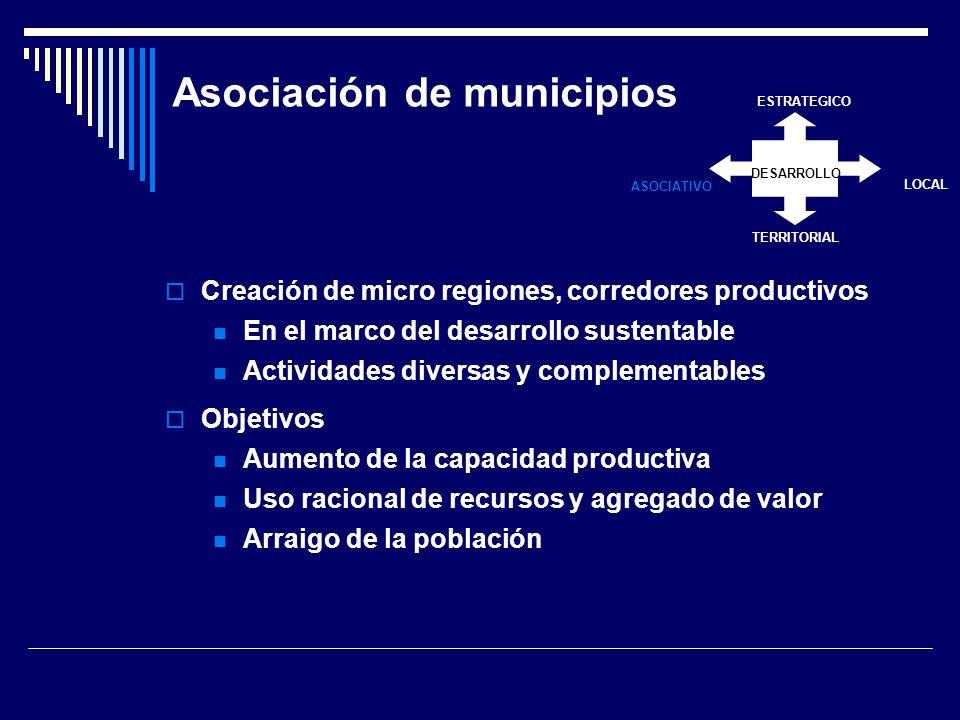 Asociación de municipios Creación de micro regiones, corredores productivos En el marco del desarrollo sustentable Actividades diversas y complementables Objetivos Aumento de la capacidad productiva Uso racional de recursos y agregado de valor Arraigo de la población DESARROLLO ESTRATEGICO LOCAL TERRITORIAL ASOCIATIVO