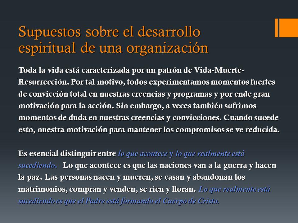 Supuestos sobre el desarrollo espiritual de una organización Toda la vida está caracterizada por un patrón de Vida-Muerte- Resurrección.