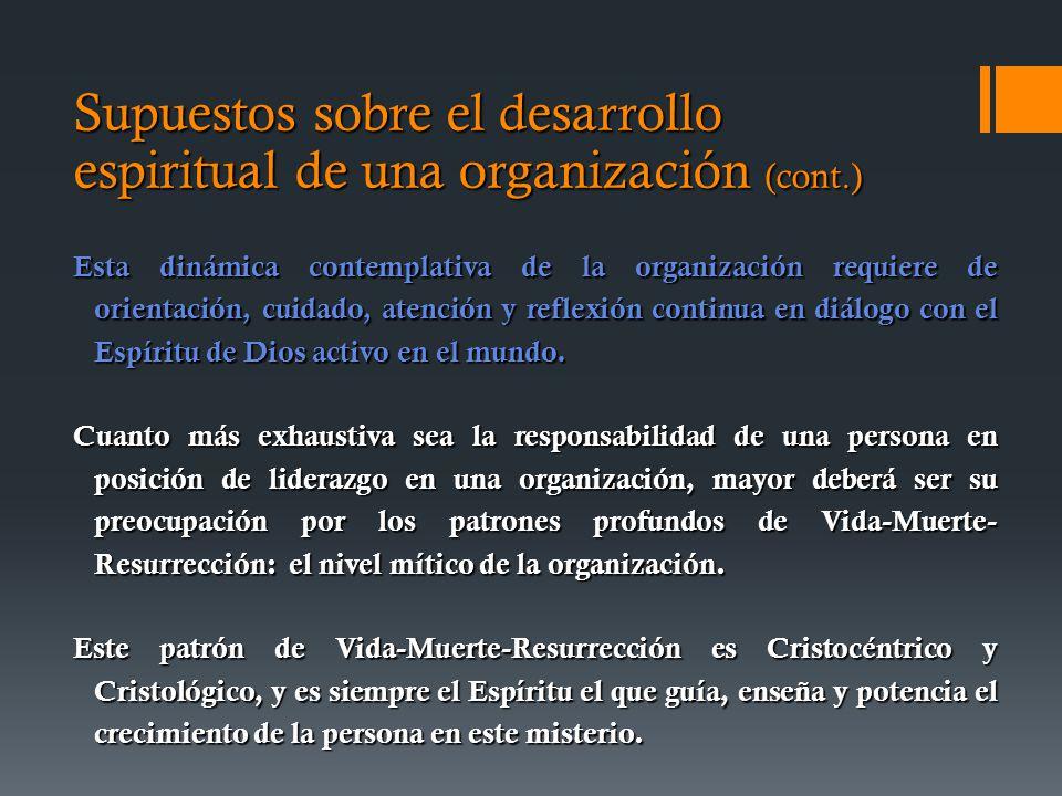 Supuestos sobre el desarrollo espiritual de una organización (cont.) Esta dinámica contemplativa de la organización requiere de orientación, cuidado, atención y reflexión continua en diálogo con el Espíritu de Dios activo en el mundo.