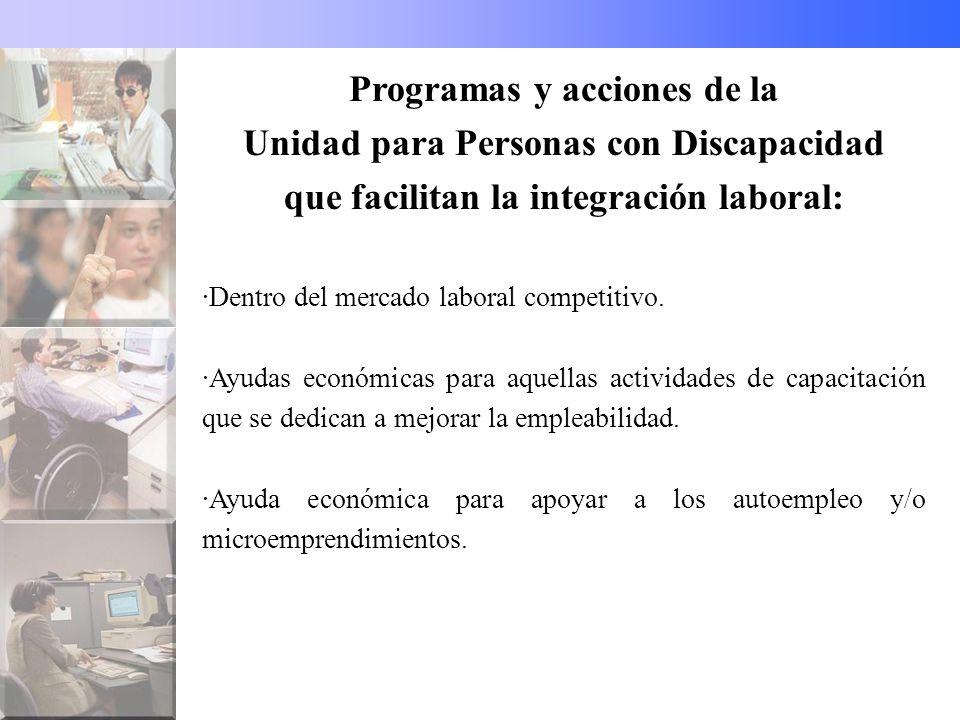 Programas y acciones de la Unidad para Personas con Discapacidad que facilitan la integración laboral: ·Dentro del mercado laboral competitivo.