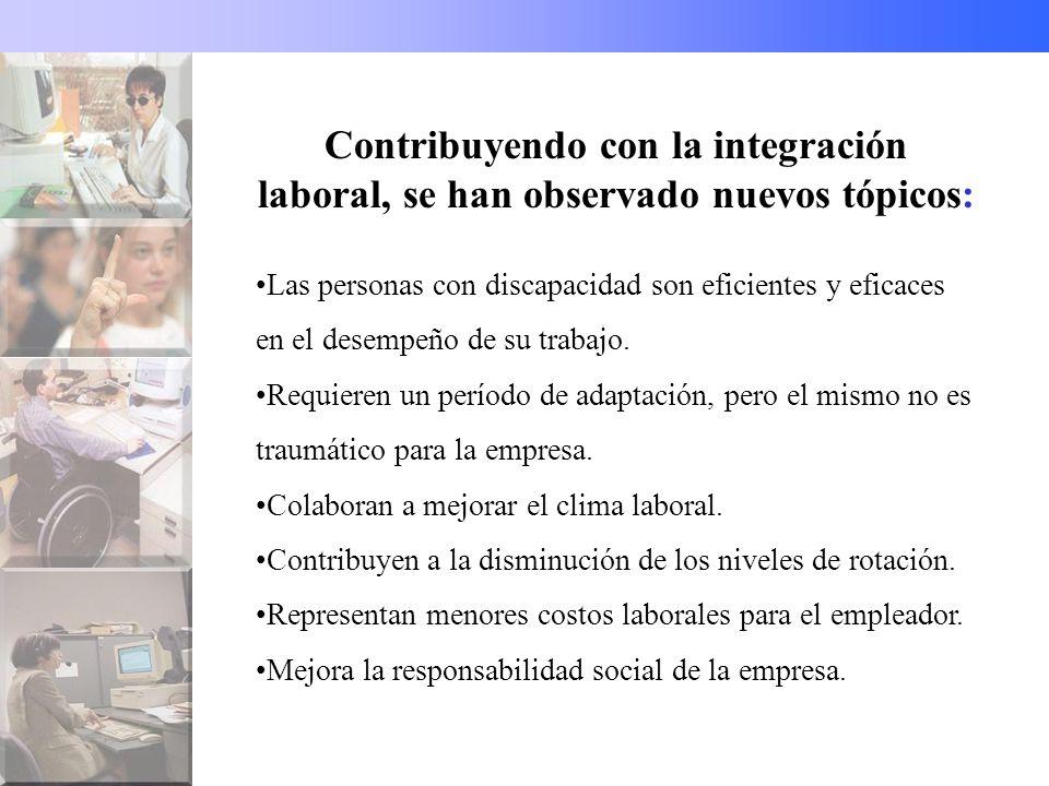 Contribuyendo con la integración laboral, se han observado nuevos tópicos: Las personas con discapacidad son eficientes y eficaces en el desempeño de su trabajo.