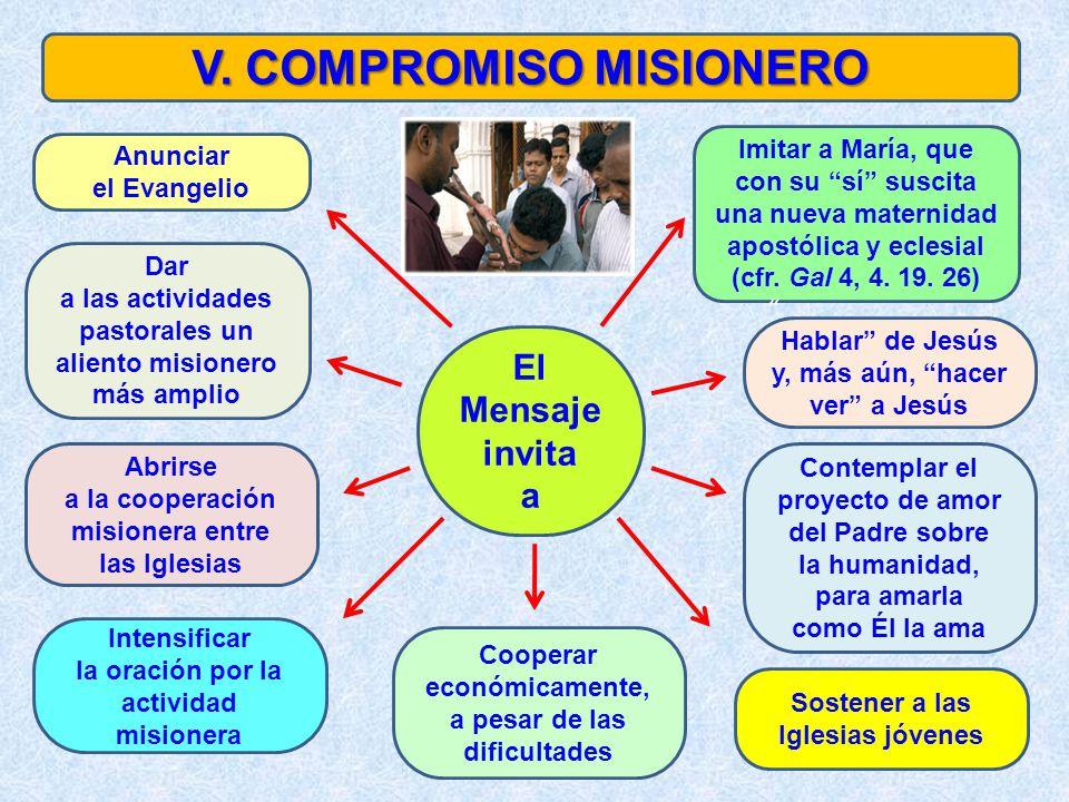 V. COMPROMISO MISIONERO Anunciar el Evangelio Imitar a María, que con su sí suscita una nueva maternidad apostólica y eclesial (cfr. Gal 4, 4. 19. 26)