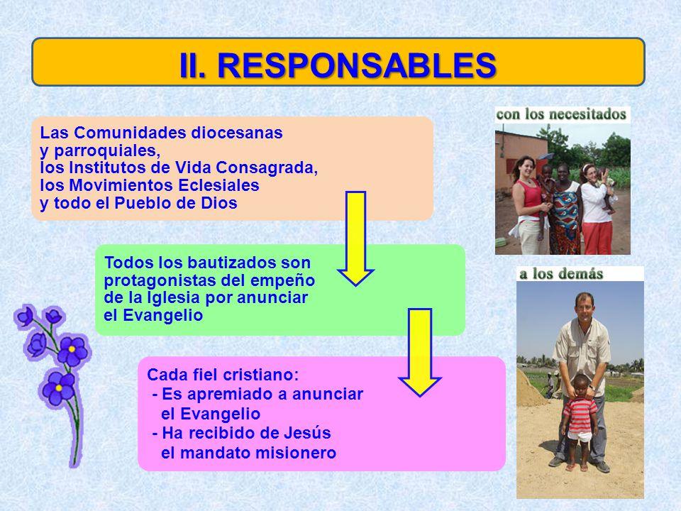 Las Comunidades diocesanas y parroquiales, los Institutos de Vida Consagrada, los Movimientos Eclesiales y todo el Pueblo de Dios Todos los bautizados