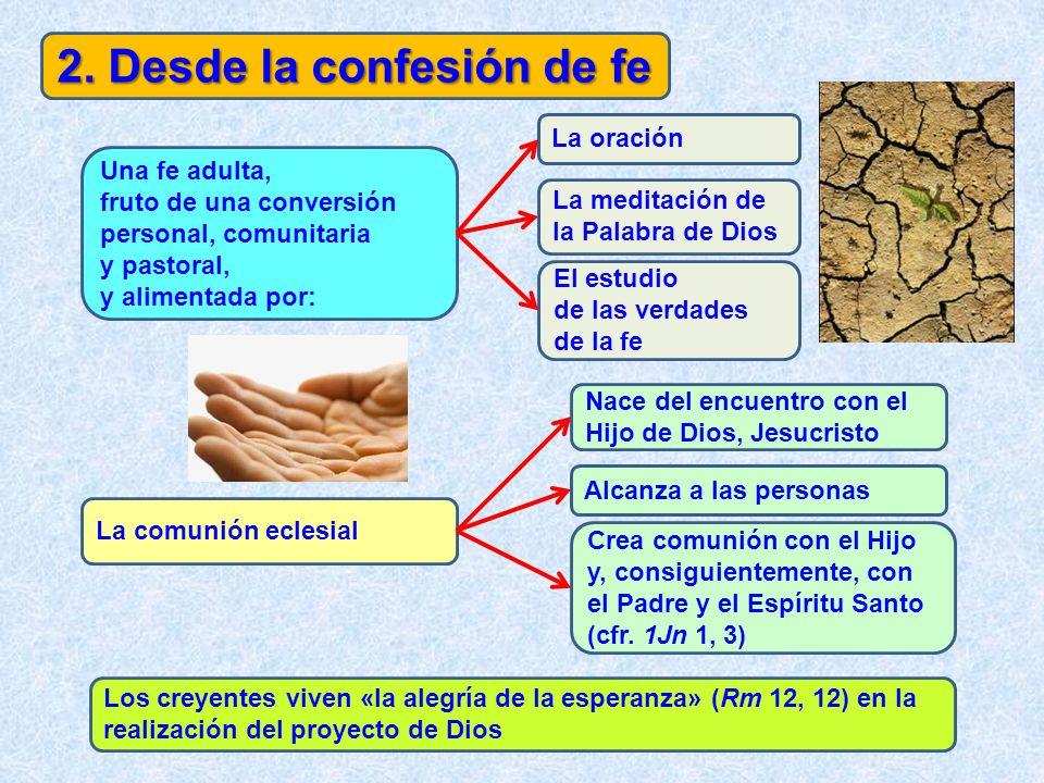 2. Desde la confesión de fe Una fe adulta, fruto de una conversión personal, comunitaria y pastoral, y alimentada por: La oración La meditación de la