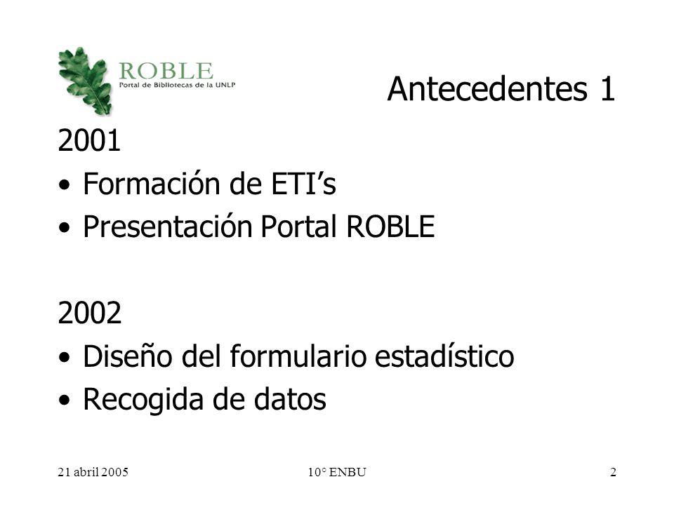 21 abril 200510° ENBU2 Antecedentes 1 2001 Formación de ETIs Presentación Portal ROBLE 2002 Diseño del formulario estadístico Recogida de datos