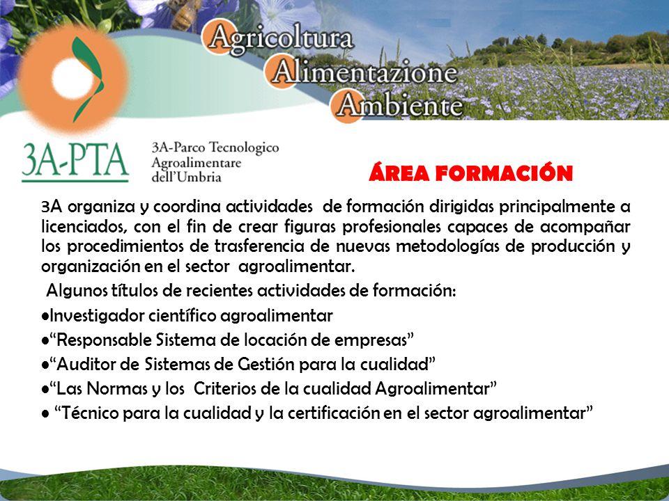 3A organiza y coordina actividades de formación dirigidas principalmente a licenciados, con el fin de crear figuras profesionales capaces de acompañar los procedimientos de trasferencia de nuevas metodologías de producción y organización en el sector agroalimentar.