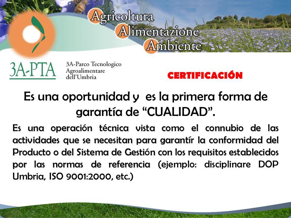 CERTIFICACIÓN Es una oportunidad y es la primera forma de garantía de CUALIDAD.
