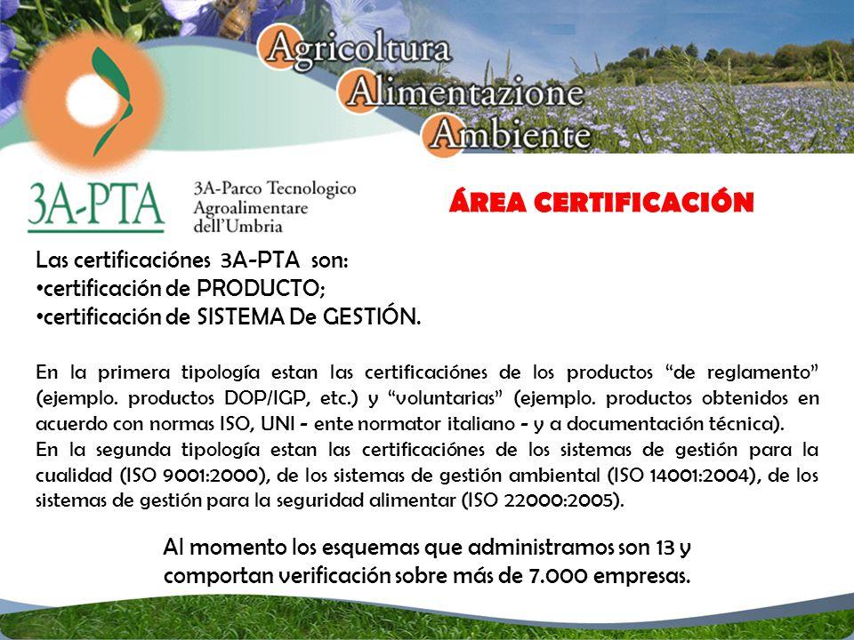 ÁREA CERTIFICACIÓN Las certificaciónes 3A-PTA son: certificación de PRODUCTO; certificación de SISTEMA De GESTIÓN.