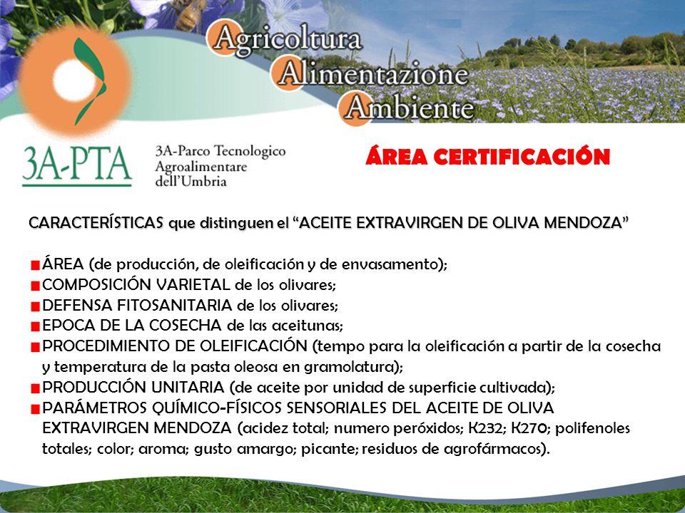CARACTERSTICAS que distinguen el ACEITE EXTRAVIRGEN DE OLIVA MENDOZA CARACTERÍSTICAS que distinguen el ACEITE EXTRAVIRGEN DE OLIVA MENDOZA ÁREA (de producción, de oleificación y de envasamento); COMPOSICIÓN VARIETAL de los olivares; DEFENSA FITOSANITARIA de los olivares; EPOCA DE LA COSECHA de las aceitunas; PROCEDIMIENTO DE OLEIFICACIÓN (tempo para la oleificación a partir de la cosecha y temperatura de la pasta oleosa en gramolatura); PRODUCCIÓN UNITARIA (de aceite por unidad de superficie cultivada); PARÁMETROS QUÍMICO-FÍSICOS SENSORIALES DEL ACEITE DE OLIVA EXTRAVIRGEN MENDOZA (acidez total; numero peróxidos; K232; K270; polifenoles totales; color; aroma; gusto amargo; picante; residuos de agrofármacos).