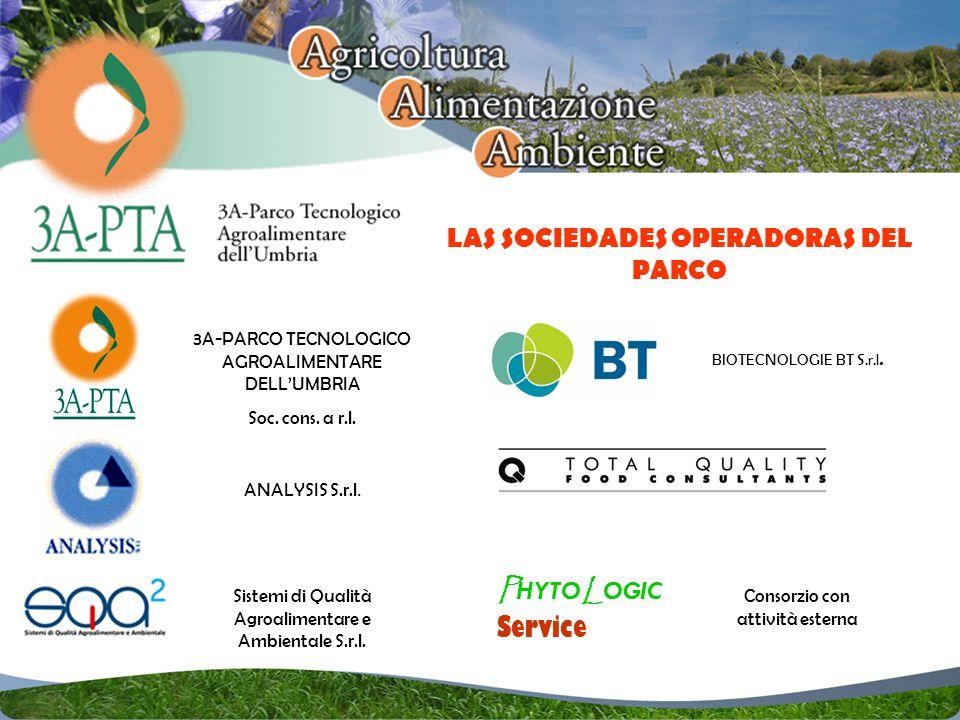 LAS SOCIEDADES OPERADORAS DEL PARCO P HYTO L OGIC Service 3A-PARCO TECNOLOGICO AGROALIMENTARE DELLUMBRIA Soc.