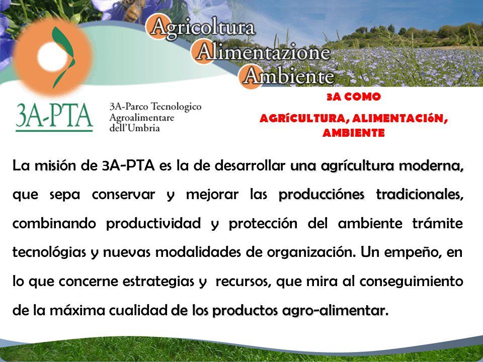 misi una agrcultura moderna, produccines tradicionales de los productos agro-alimentar La misión de 3A-PTA es la de desarrollar una agrícultura moderna, que sepa conservar y mejorar las producciónes tradicionales, combinando productividad y protección del ambiente trámite tecnológias y nuevas modalidades de organización.