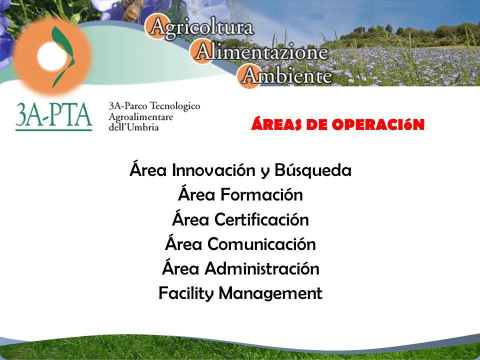 Área Innovación y Búsqueda Área Formación Área Certificación Área Comunicación Área Administración Facility Management ÁREAS DE OPERACIóN