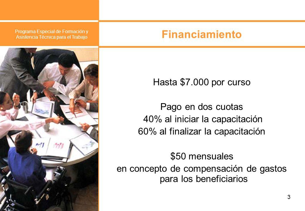 Programa Especial de Formación y Asistencia Técnica para el Trabajo 4 ¿Qué se financia.