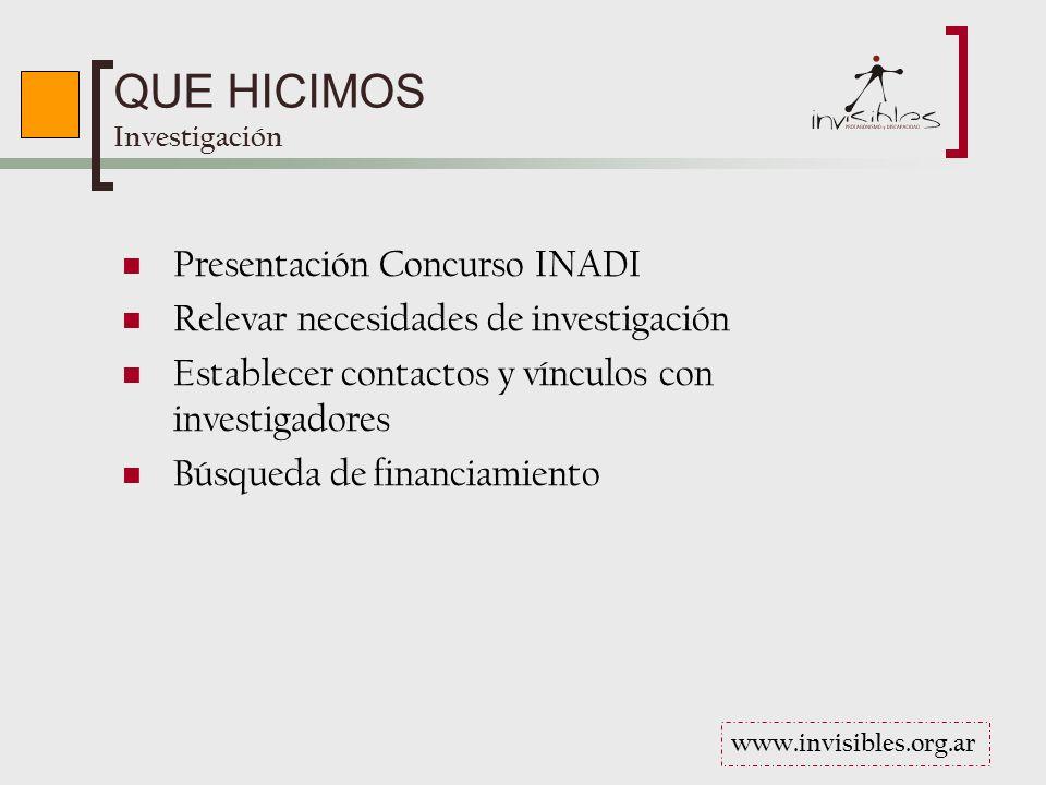 QUE HICIMOS Investigación Presentación Concurso INADI Relevar necesidades de investigación Establecer contactos y vínculos con investigadores Búsqueda de financiamiento www.invisibles.org.ar