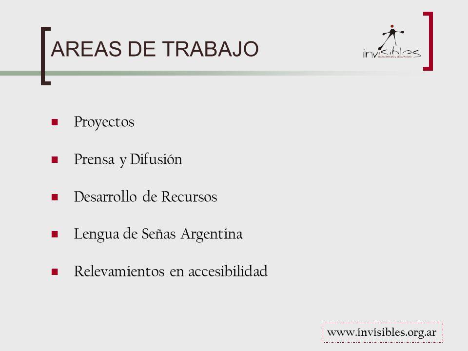 AREAS DE TRABAJO Proyectos Prensa y Difusión Desarrollo de Recursos Lengua de Señas Argentina Relevamientos en accesibilidad www.invisibles.org.ar