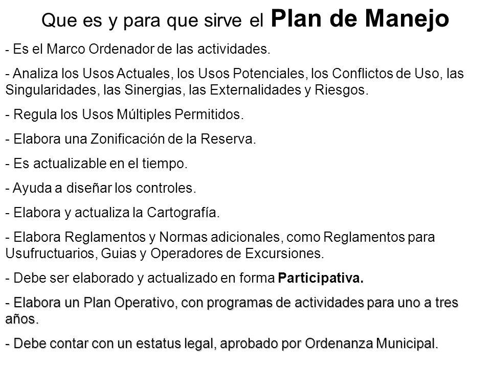 Que es y para que sirve el Plan de Manejo - Es el Marco Ordenador de las actividades. - Analiza los Usos Actuales, los Usos Potenciales, los Conflicto
