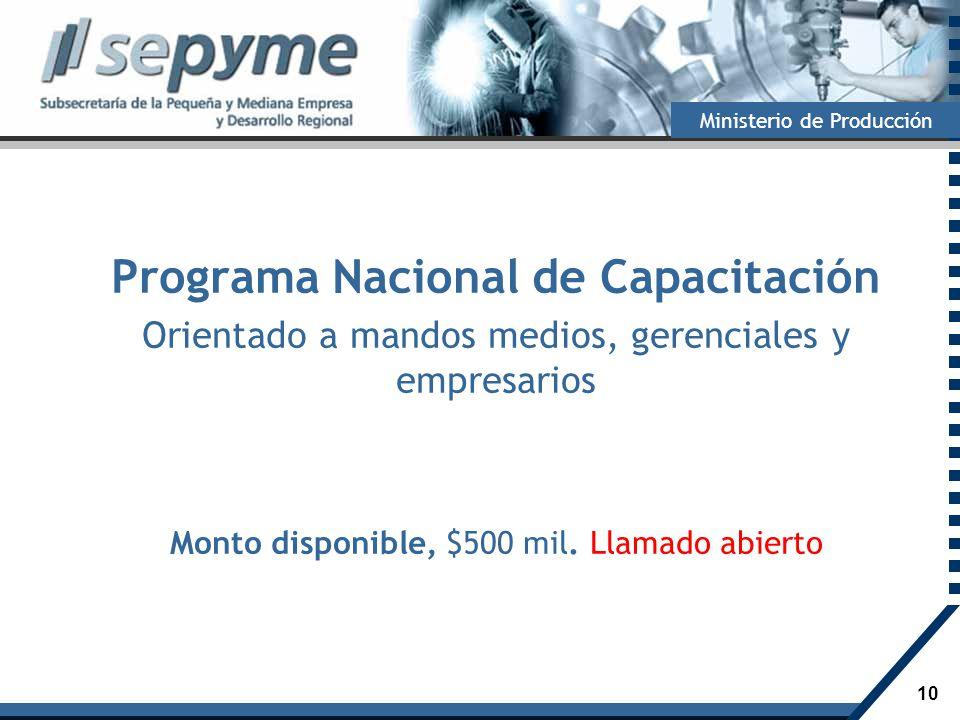 10 Ministerio de Producción Programa Nacional de Capacitación Orientado a mandos medios, gerenciales y empresarios Monto disponible, $500 mil. Llamado