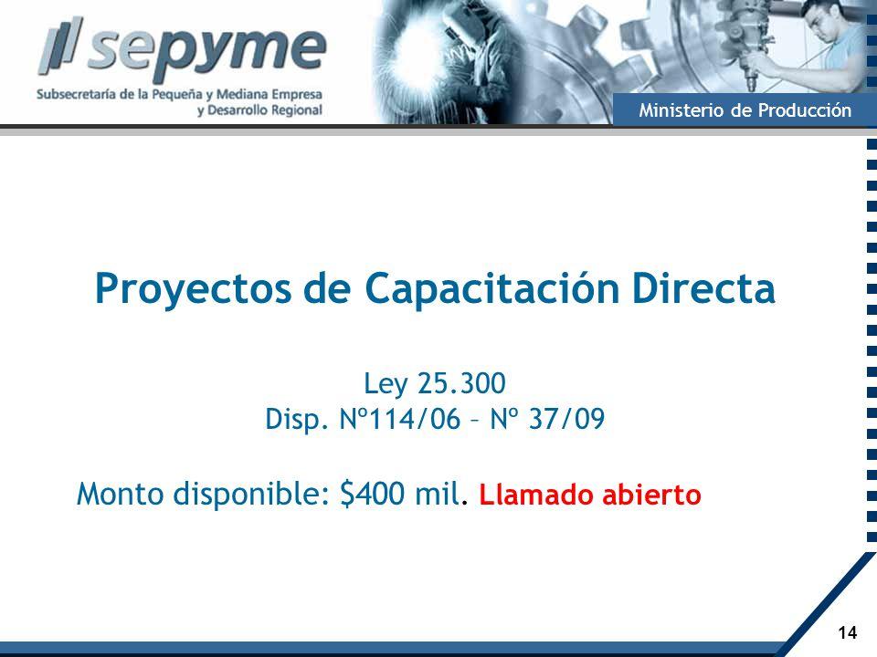 14 Ministerio de Producción Proyectos de Capacitación Directa Ley 25.300 Disp. Nº114/06 – Nº 37/09 Monto disponible: $400 mil. Llamado abierto