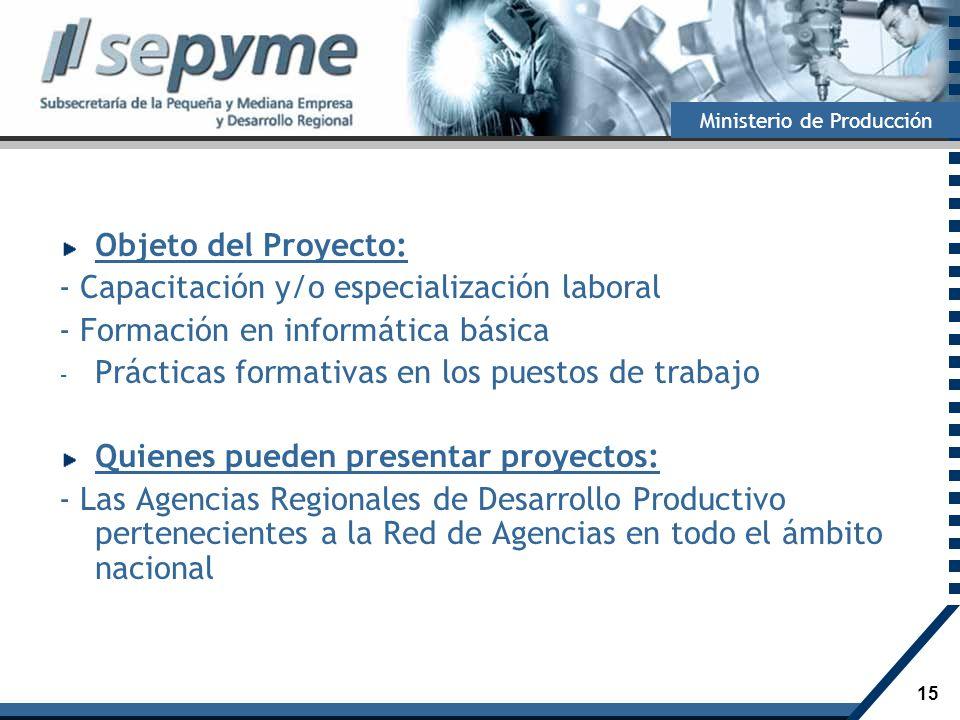 15 Ministerio de Producción Objeto del Proyecto: - Capacitación y/o especialización laboral - Formación en informática básica - Prácticas formativas e