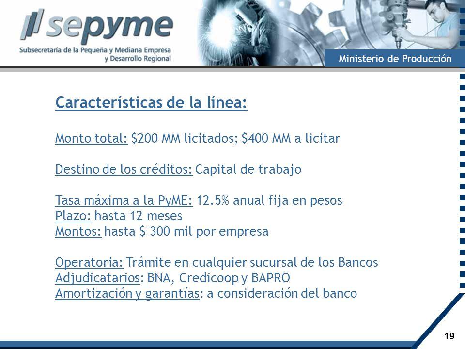 19 Ministerio de Producción Características de la línea: Monto total: $200 MM licitados; $400 MM a licitar Destino de los créditos: Capital de trabajo