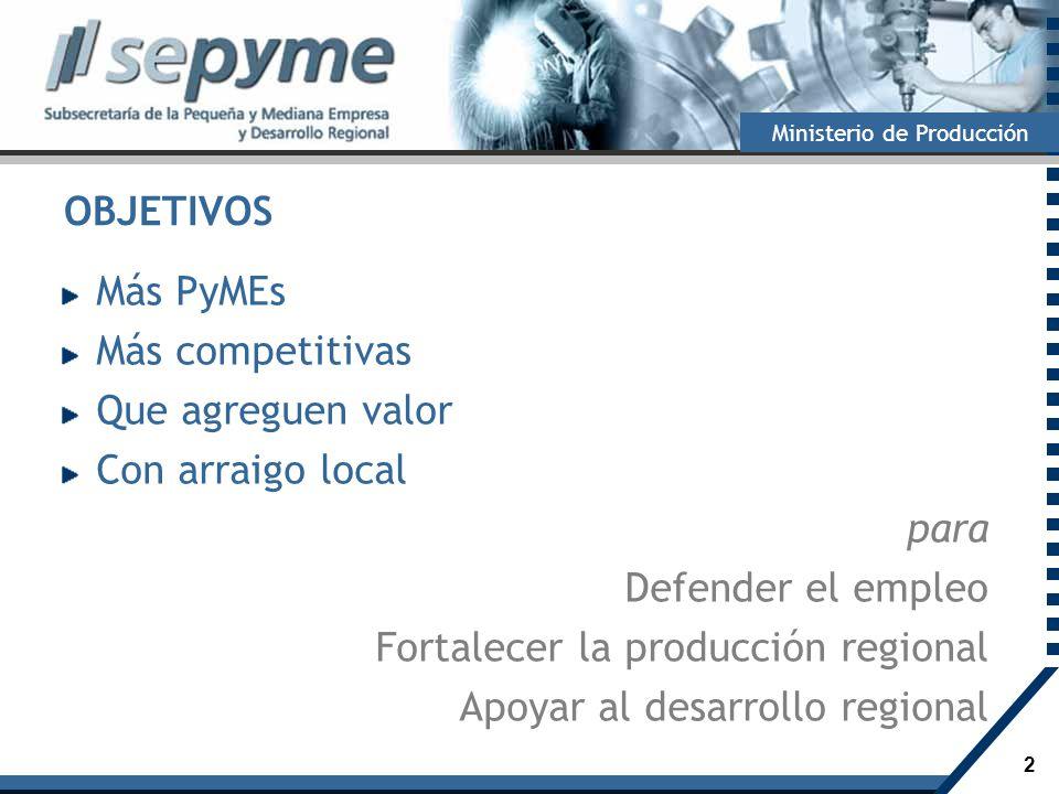 2 Ministerio de Producción OBJETIVOS Más PyMEs Más competitivas Que agreguen valor Con arraigo local para Defender el empleo Fortalecer la producción