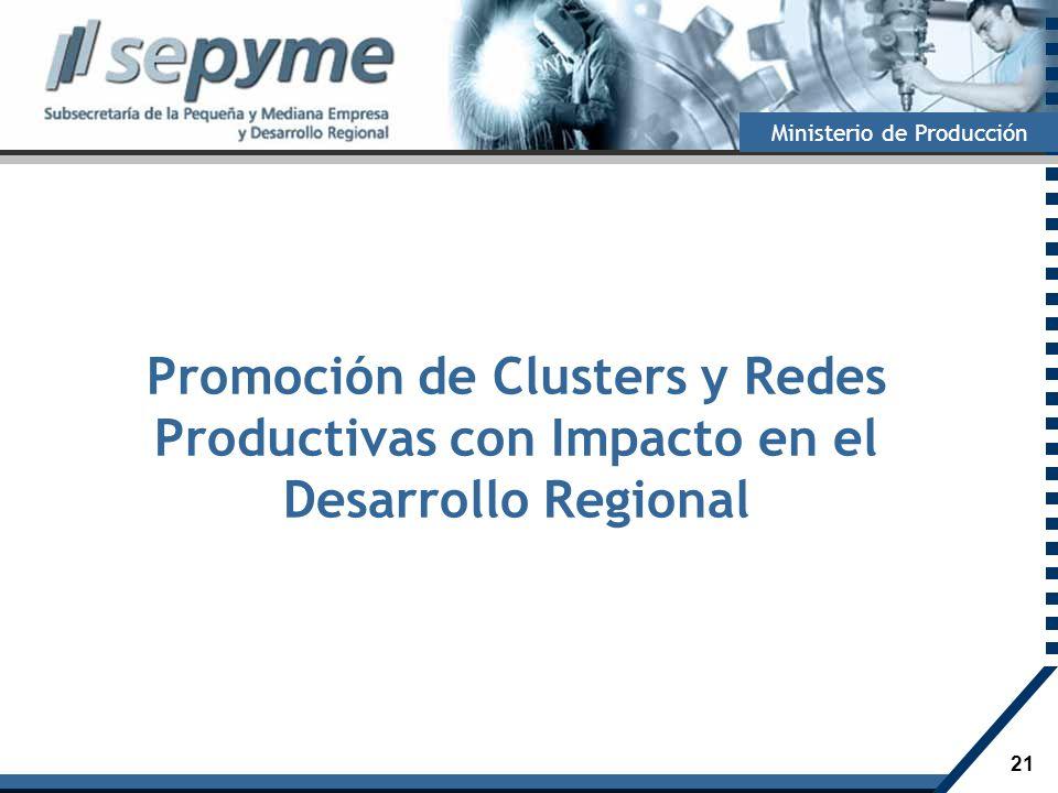 21 Ministerio de Producción Promoción de Clusters y Redes Productivas con Impacto en el Desarrollo Regional