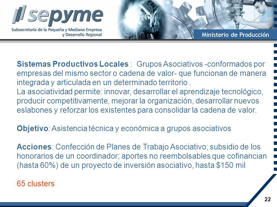 22 Ministerio de Producción Sistemas Productivos Locales : Grupos Asociativos -conformados por empresas del mismo sector o cadena de valor- que funcio