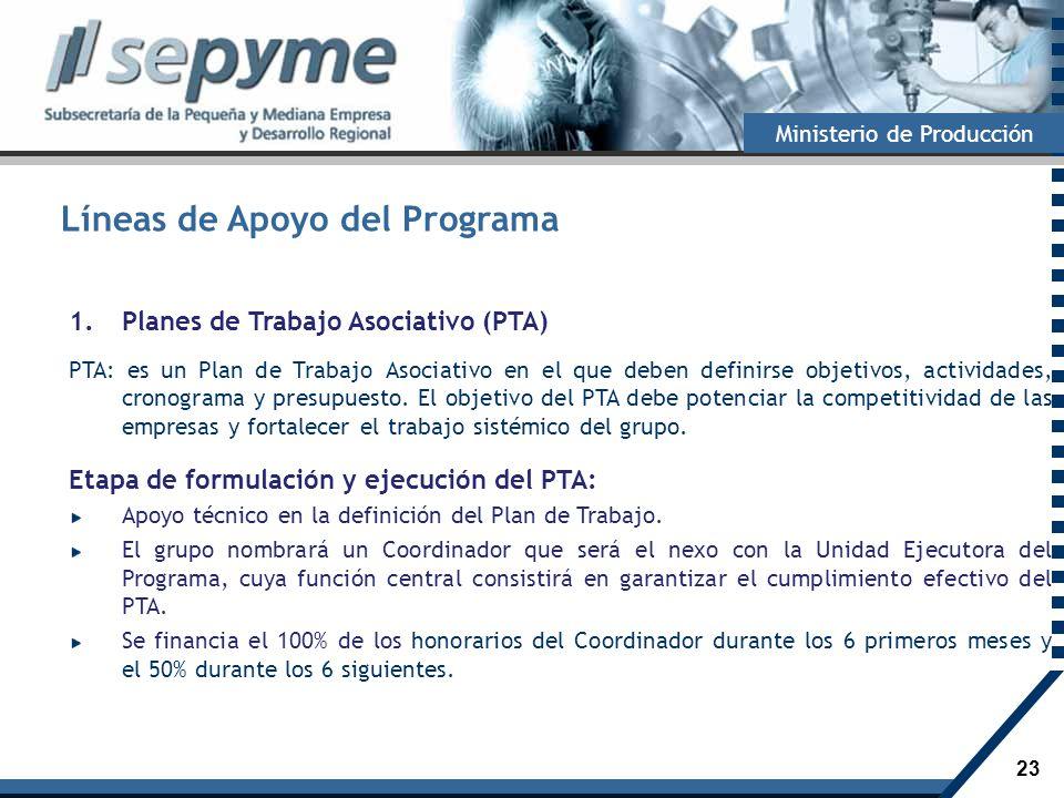 23 Ministerio de Producción Líneas de Apoyo del Programa 1.Planes de Trabajo Asociativo (PTA) PTA: es un Plan de Trabajo Asociativo en el que deben de