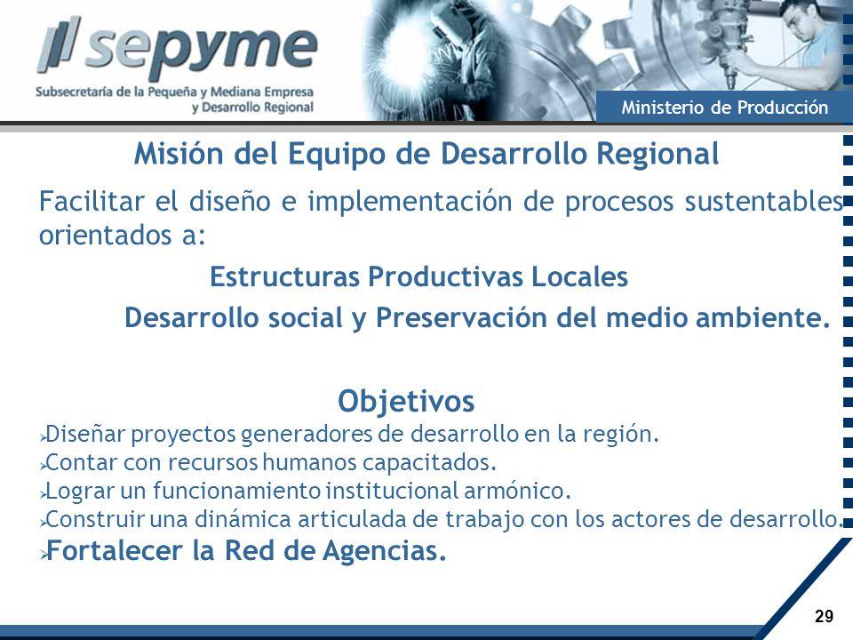 29 Ministerio de Producción Misión del Equipo de Desarrollo Regional Facilitar el diseño e implementación de procesos sustentables orientados a: Estru