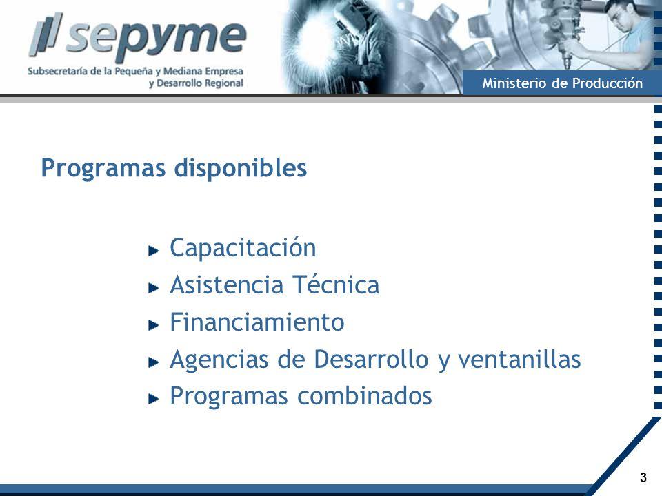 4 Ministerio de Producción Crédito Fiscal para Capacitación 2009 Fondos disponibles: $30 millones.