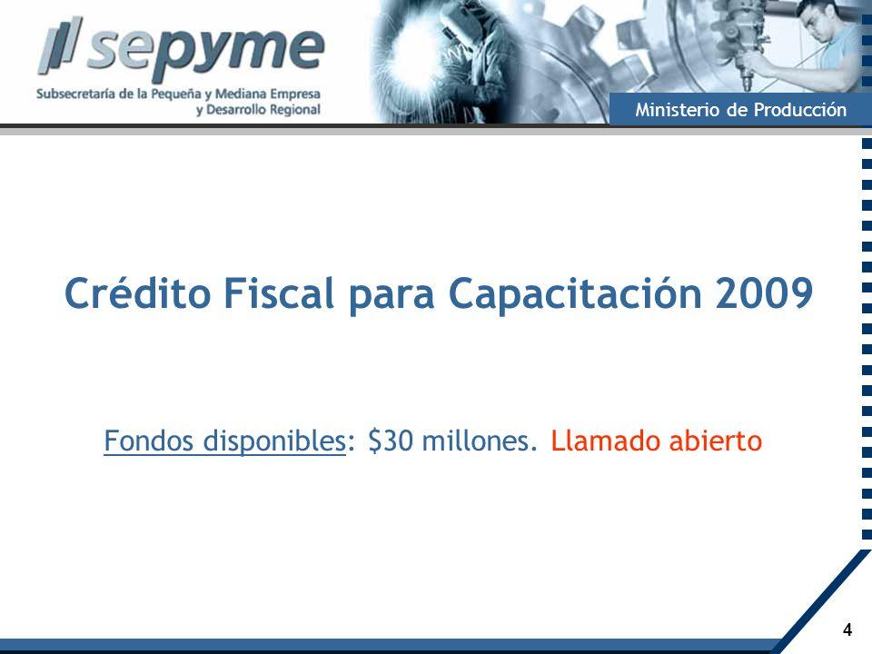 4 Ministerio de Producción Crédito Fiscal para Capacitación 2009 Fondos disponibles: $30 millones. Llamado abierto