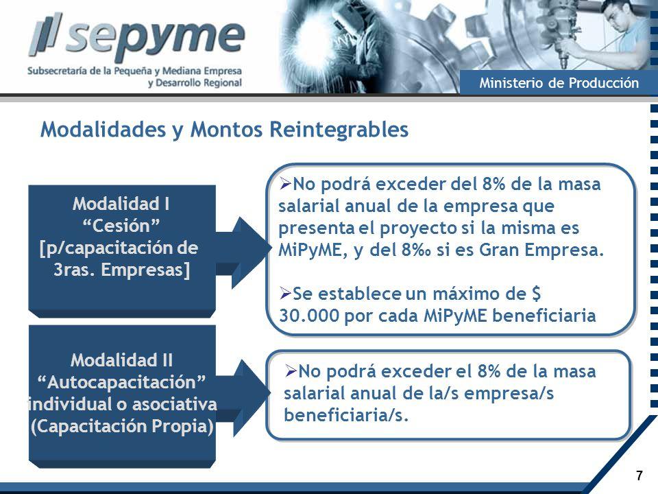 7 Ministerio de Producción No podrá exceder del 8% de la masa salarial anual de la empresa que presenta el proyecto si la misma es MiPyME, y del 8 si
