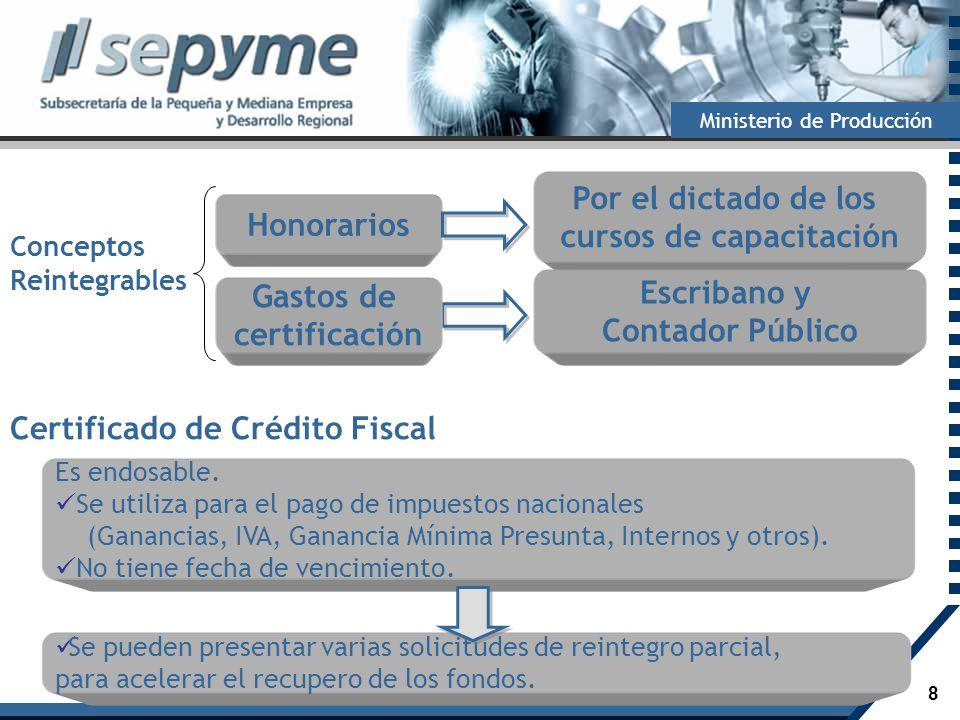 8 Ministerio de Producción Certificado de Crédito Fiscal Es endosable. Se utiliza para el pago de impuestos nacionales (Ganancias, IVA, Ganancia Mínim