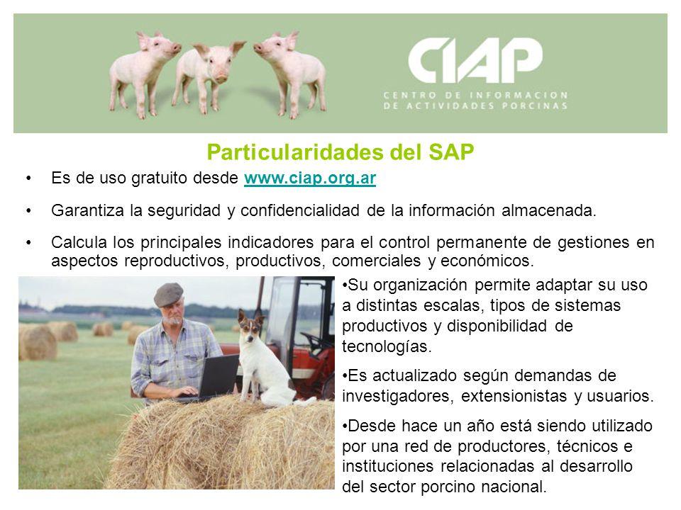 Particularidades del SAP Es de uso gratuito desde www.ciap.org.arwww.ciap.org.ar Garantiza la seguridad y confidencialidad de la información almacenad