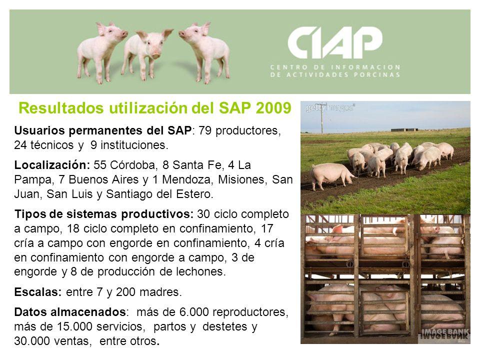 Resultados utilización del SAP 2009 Usuarios permanentes del SAP: 79 productores, 24 técnicos y 9 instituciones. Localización: 55 Córdoba, 8 Santa Fe,