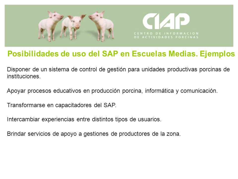 Posibilidades de uso del SAP en Escuelas Medias. Ejemplos Disponer de un sistema de control de gestión para unidades productivas porcinas de instituci