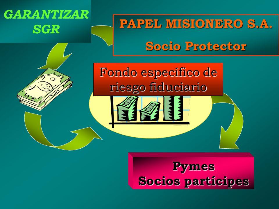 Empresa Socio protector Las SGR Pymes Socios partícipes Fondo de garantía PAPEL MISIONERO S.A.