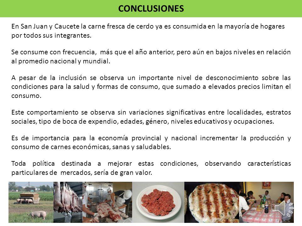 En San Juan y Caucete la carne fresca de cerdo ya es consumida en la mayoría de hogares por todos sus integrantes. Se consume con frecuencia, más que