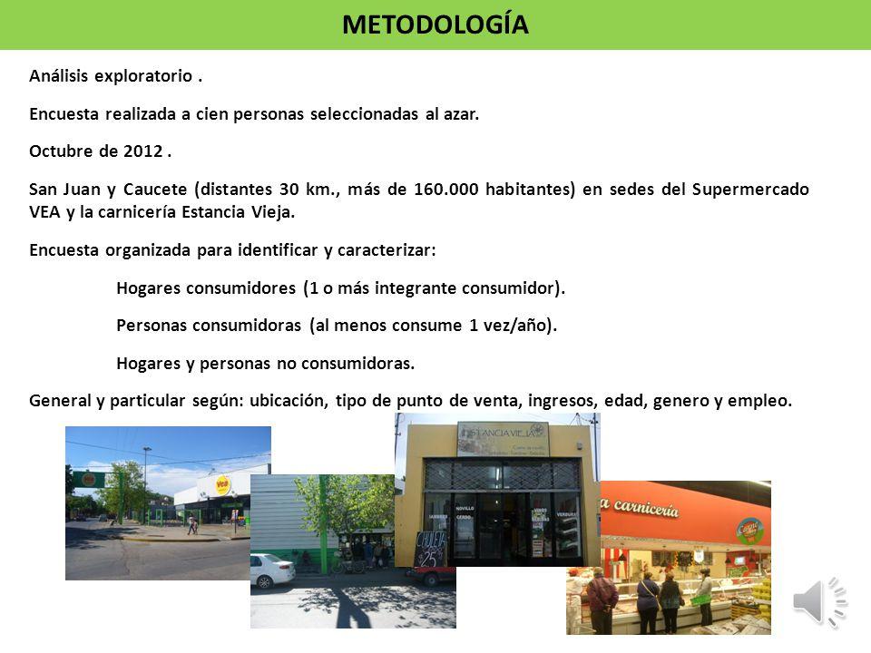 Análisis exploratorio. Encuesta realizada a cien personas seleccionadas al azar. Octubre de 2012. San Juan y Caucete (distantes 30 km., más de 160.000
