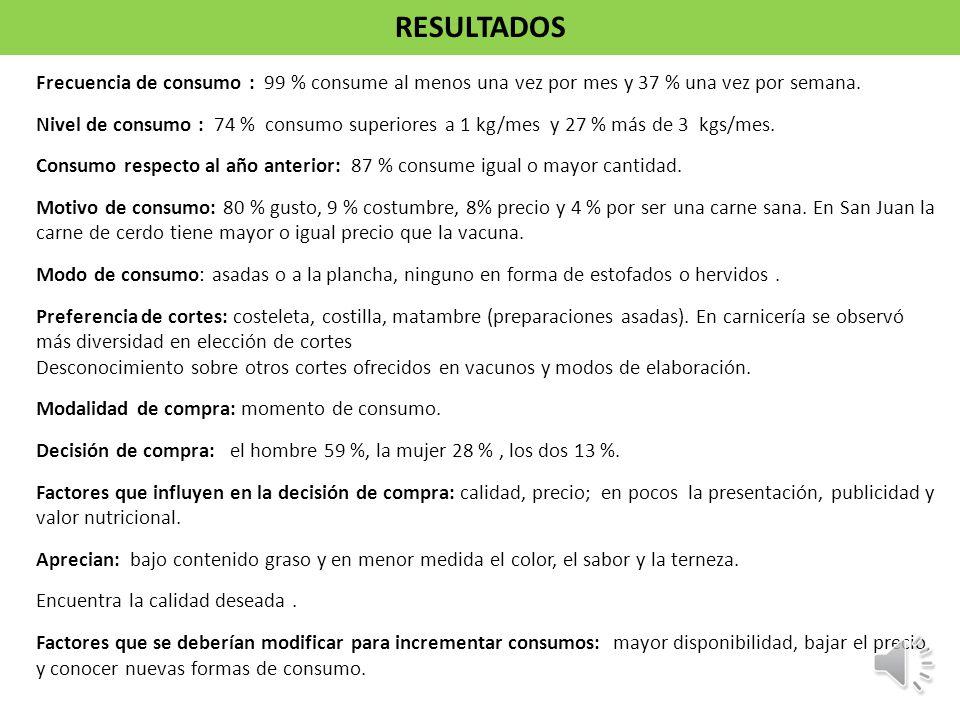 Frecuencia de consumo : 99 % consume al menos una vez por mes y 37 % una vez por semana. Nivel de consumo : 74 % consumo superiores a 1 kg/mes y 27 %