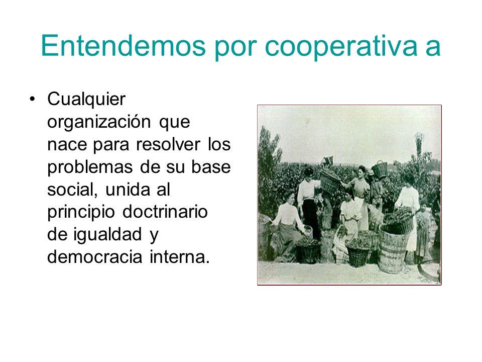 Entendemos por cooperativa a Cualquier organización que nace para resolver los problemas de su base social, unida al principio doctrinario de igualdad y democracia interna.