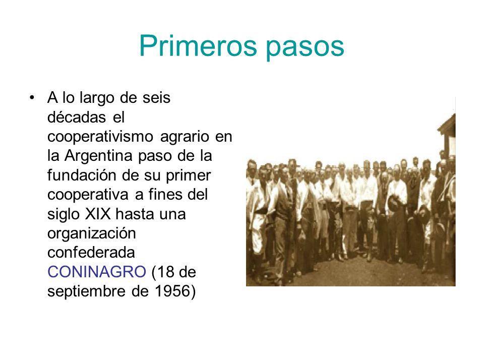 Primeros pasos A lo largo de seis décadas el cooperativismo agrario en la Argentina paso de la fundación de su primer cooperativa a fines del siglo XIX hasta una organización confederada CONINAGRO (18 de septiembre de 1956)